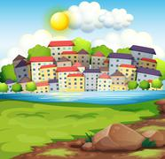 A village near the river - stock illustration