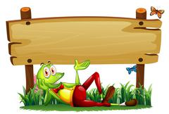 A playful frog under the empty wooden signboard - stock illustration