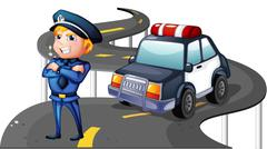 A police and his patrol car in the middle of the road Stock Illustration