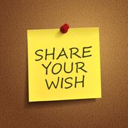 share your wish words on post-it - stock illustration