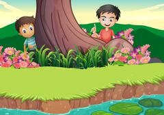 Stock Illustration of Two boys hiding at the tree