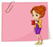 A girl drinking her coffee in front of the empty pink template Stock Illustration