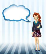 An office girl with an empty cloud template - stock illustration