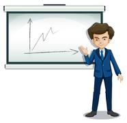 Stock Illustration of A man explaining the graph in the bulletin board