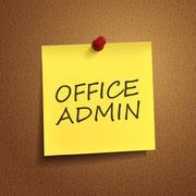 Office admin words on post-it Stock Illustration