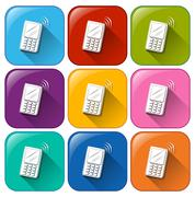 Icons with cellular phones - stock illustration