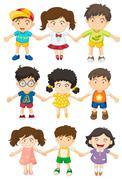 Kids holding their hands Stock Illustration
