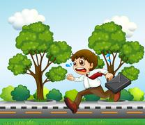 Stock Illustration of A man running hurriedly with a suitcase