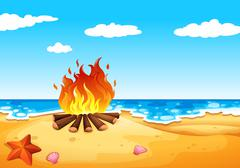A campfire at the beach - stock illustration