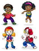 Stock Illustration of Black and Caucasian kids