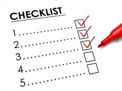 tick placed in check box with red pen - stock illustration