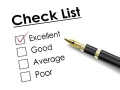 tick placed in excellent check box with fountain pen - stock illustration