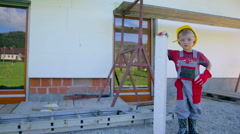 Little worker proud of his work isolating house Stock Footage