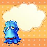 A blue monster feeling down near the empty cloud template Stock Illustration