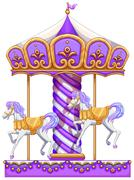 A purple merry-go-round ride - stock illustration