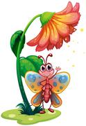 Stock Illustration of A butterfly waving below the giant flower