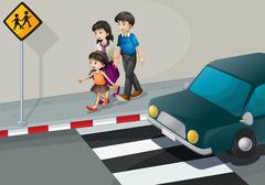 Stock Illustration of A family walking at the street