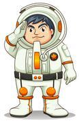 A fat astronaut - stock illustration