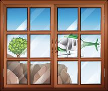 A closed window with a view of the helicopter going to the cliff - stock illustration