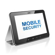 tablet computer with text mobile security on display - stock illustration