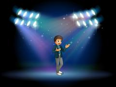 A teenager in the middle of the stage - stock illustration