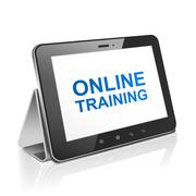 tablet computer with text online training on display - stock illustration
