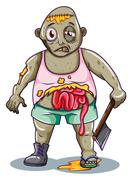 A zombie holding a sharp weapon - stock illustration