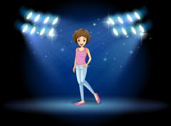 A girl performing in the middle of the stage - stock illustration