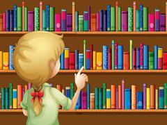 A girl selecting books - stock illustration