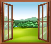 A window with a good view of the beautiful gift of nature - stock illustration