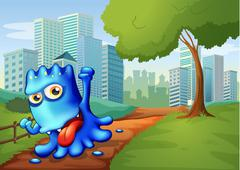 A blue monster in the city - stock illustration