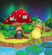An annoying frog near the red mushroom house - stock illustration