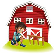 Stock Illustration of A sad boy in front of the barnhouse
