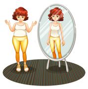 A fat girl and her skinny reflection Stock Illustration