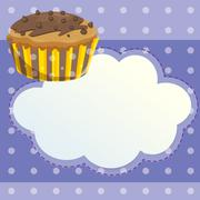 Stock Illustration of A stationery with a mocha flavored cupcake