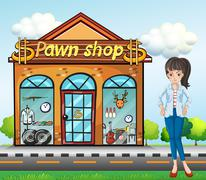 A lady standing beside the pawnshop - stock illustration
