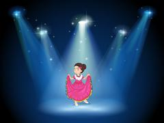 Stock Illustration of A girl with a pink long dress standing in the middle of the stage