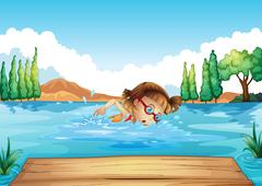 A girl practicing swimming - stock illustration