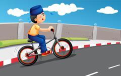 Stock Illustration of A male Muslim biking