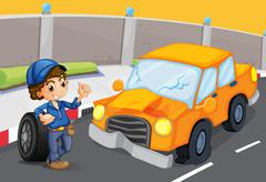 Stock Illustration of An orange car at the road with a flat tire