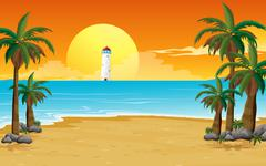 A quiet beach with a lighthouse - stock illustration