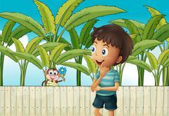 A boy and a monkey near the banana plantation Stock Illustration