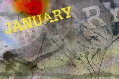 january month art grunge design - stock illustration
