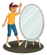 Stock Illustration of A boy beside a mirror