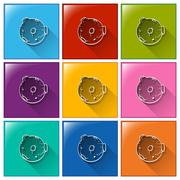 Buttons with a thing found at the outerspace - stock illustration