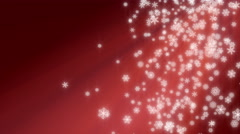 Christmas snowflakes falling loop, red. Snow on right side, copy space on left. Stock Footage