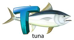A letter T for tuna - stock illustration