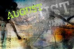 august month art grunge design - stock illustration