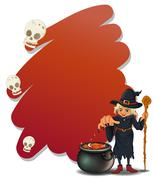 Stock Illustration of A witch with a magical pot and a cane
