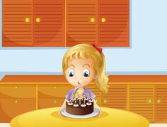 A girl blowing her cake - stock illustration